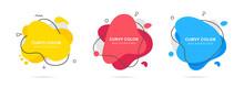 3 Modern Liquid Irregular Amoeba Blob Shape Abstract Elements Graphic Flat Style Design Fluid Vector Illustration Set Banner Simple Shape Template For Presentation, Flyer, Isolated On White Background