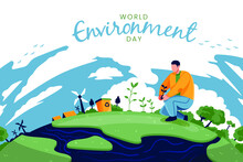 World Environment Day. World Environment Day Concept. Green Eco Earth. World Environment Day Vector Illustration. World Environment Day Background. World Environment Day Card.