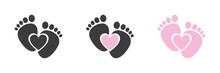 Baby Foot Barefoot Heart Icon. Set.