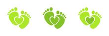 Green Symbol Footprints Button Icon Design, Vector Illustration Set