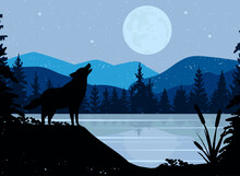The Wolf On The Hill Howls At The Full Moon. Mountain Landscape With Water. Vector Graphics. Format Eps. Blue Landscape