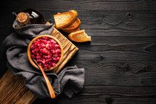 Vegetable Salad And Toasted Bread On Wooden Background Top View, Copy Space