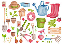 A Set Of Items On The Theme Of The Garden And Vegetable Garden. Color Illustration With Garden Tools And Plants. Watercolor Illustrations For The Design Of Stationery, Textiles, Web, Postcards.