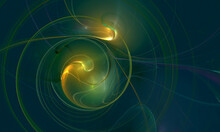 Abstract Cosmic Poster In Blue And Golden Yellow Colors. Smoky Circles And Spiral Unwinding In Dark Far Space. Galaxy Sound And Music Artistic Representation. Fairy Spotlights And Nebulosity.