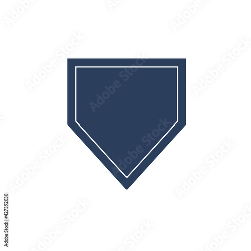 Obraz na plátně Home plate baseball text box Isolated on white background.
