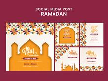 Iftar Celebration Social Media Post, Invitation Or Template Design In Five Options.