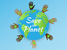 Earth Day.April 22.Banner Earth Day With An Environment Logo.Save The Planet.Vector Social Poster, Banner Or Card .Human Hands Protect Our Earth.World Saving,protection Family And Environment Concept.