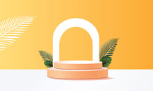 3d Geometric Podium Mockup Leaf Tropical In Summer Season Netural Concept For Showcase Green Background Abstract Minimal Scene Product Presentation