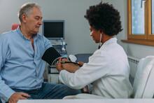 Older Person Is Having Blood Pressure Checked