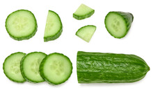 Cucumber With Slices Isolated On White Background. Clipping Path. Top View