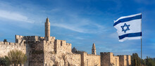 Panorama Of Jerusalem Citadel Near The Jaffa Gate With Tower Of David, Ancient Fortress Walls And Israeli Flag