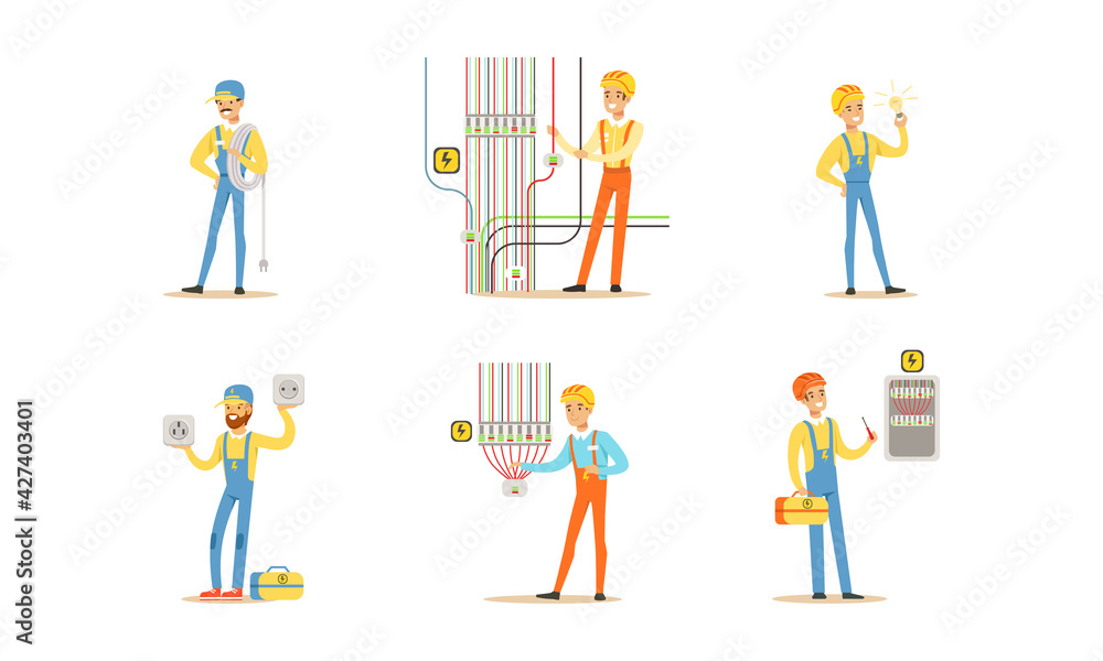 Fototapeta Professional Electricians, Male Electrician Engineers in Uniform and Hardhat Installing and Repairing Electrical Appliances and Transformer Cartoon Vector Illustration