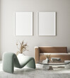Leinwandbild Motiv mock up poster frame in modern interior background, living room, Art Deco style, 3D render, 3D illustration