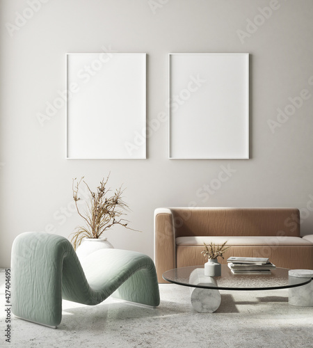 Tableau sur Toile mock up poster frame in modern interior background, living room, Art Deco style,