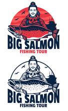 Women Fishing With Big Salmon Fish