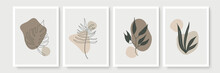 Creative Minimalist Hand Draw Floral Abstract Art Background. Modern Aesthetic Illustrations. Bohemian Style Collection Of Contemporary Artistic Design For Wall Decoration, Postcard, Poster, Brochure