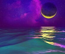 Golden Moon Crescent Moon. Moonscape With Stars Moonwalk In The Ocean Sea 3d Render