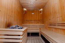 Interior Of Finnish Sauna With Heater And Stones, Classic Wooden Sauna, Finnish Bathroom