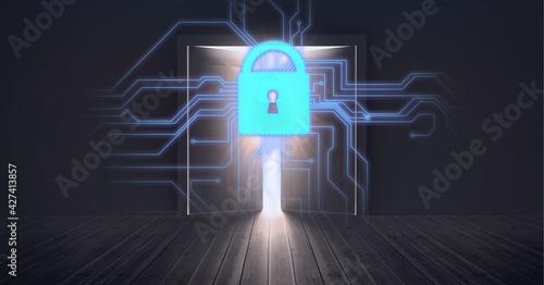 Composition of online security padlock, processor and open door