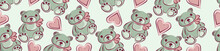 Children's Seamless Border Made Of A Teddy Bear And Hearts On A Pink Background.