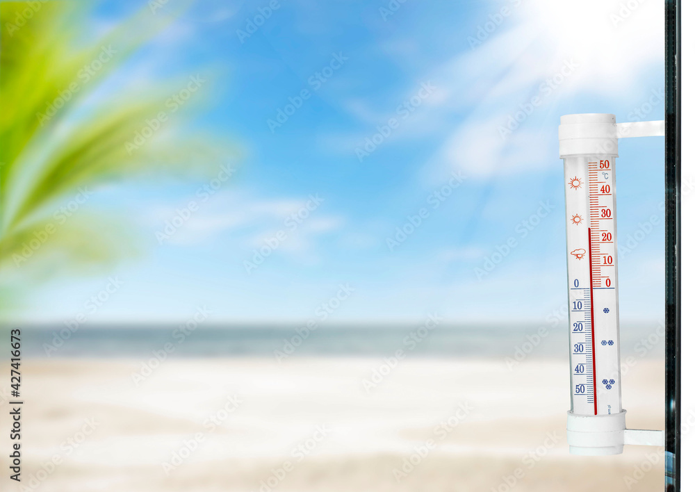 Fototapeta Summer beach thermometer and free space for your tekst