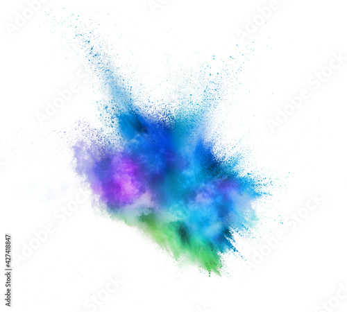 Fototapeta Explosion of colored, fluid and neoned powder on white studio background with copyspace obraz