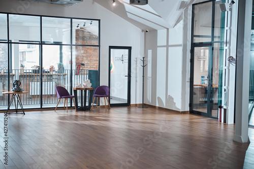 Fototapeta Modern empty office room with wooden floor obraz na płótnie
