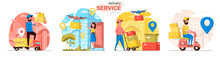 Delivery Service Concept Scenes Set. Courier Delivers Parcel, Drone With Box Flies To Client Home, Warehouse Worker. Collection Of People Activities. Vector Illustration Of Characters In Flat Design