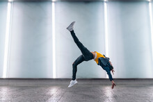 Casual Young Man Break Dancing