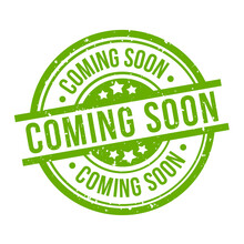 Coming Soon Round Green Grunge Stamp Badge On White Background