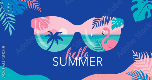 Obraz Summer time fun concept design. Creative background of landscape, panorama of sea and beach on sunglasses. Summer sale, post template - fototapety do salonu