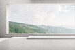 3d render of empty concrete room with large window on nature background, Empty space for product presentation.