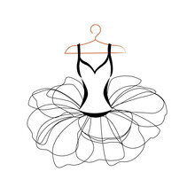 Vector Illustration Of A Beautiful Ballet Tutu On A Hanger For Decorating A Flyer, Poster, Invitation Or Social Media