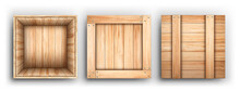 Realistic Detailed 3d Wooden Box Open And Closed View Set. Vector