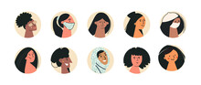 Different Ethnic Nationality Affiliation Women Head Face Circle Vector Icons. Set Of Portraits Of Female Character Of Different Gender And Age. Diversity. Flat Vector Illustration Isolated On White