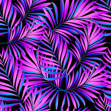 Palm Trees. Neon Color Of Tropical Leaves. Trendy Colorful Palm Leaf, Jungle Background And Purple Exotic Plants.