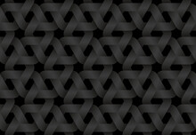 Black Seamless Pattern Of Woven Hexagonal Shaped Bands. Vector Dark Repeating Background Illustration.
