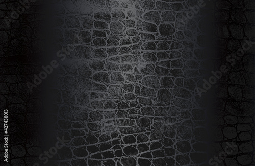 Fototapeta Luxury black metal gradient background with distressed crocodile, snake, alligator skin leather texture. obraz