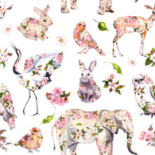 Cute Animals In Pink Spring Flowers. Floral Seamless Pattern. Feminine, Girly Watercolor