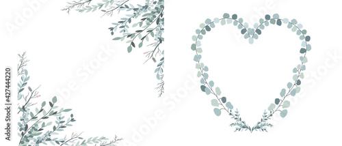 Fotografia Eucalyptus square and heart frame for design wedding card