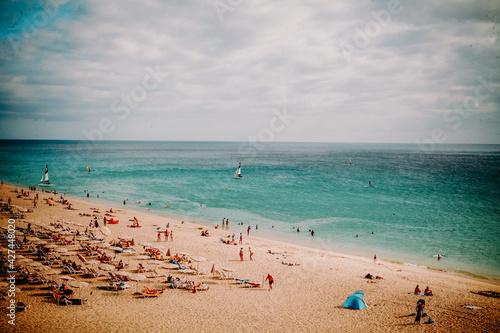 Fototapeta jandia playa fuerteventura piaszczysta plaża  błękitne morze obraz