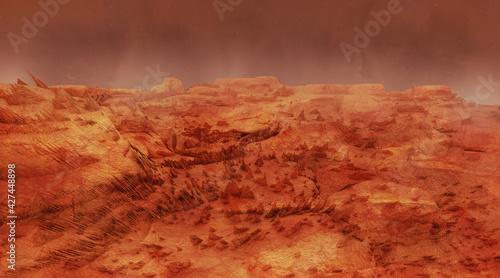 Fototapeta Mars landscape, science fiction illustration obraz