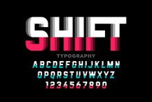 Shifted Style Font, Typography Design, Alphabet Letters And Numbers