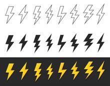 Set Lightning Bolt Or Thunder Icons Set. Vector Illustration Set