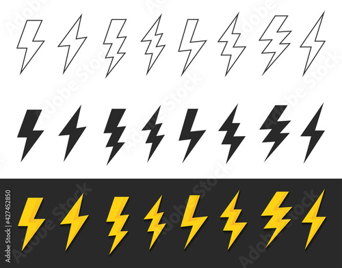 Set lightning bolt or thunder icons set. Vector illustration set - fototapety na wymiar