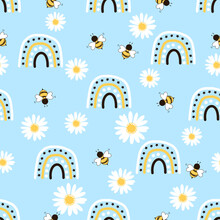 Seamless Pattern With Daisy Flower, Rainbows And Bee Cartoon On Blue Background Vector Illustration.