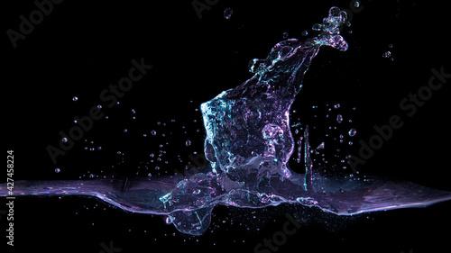 Fotografie, Obraz 水面に氷を落とした瞬間の水しぶきのテクスチャー。 黒い背景にカラフルなライト