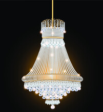 Illustration Of A Crystal Chandelier Antique With Pendants
