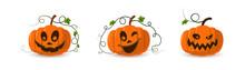 Halloween Pumpkin Icon 3D Set. Autumn Symbol. Cartoon Horror Design. Halloween Scary Pumpkin Face, Smile. Orange Squash Silhouette Isolated White Background. Harvest Celebration Vector Llustration