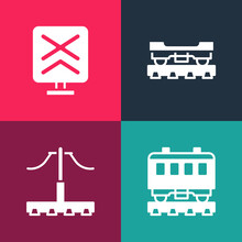 Set Pop Art Passenger Train Cars, Railway, Cargo Wagon And Railroad Crossing Icon. Vector